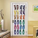 Schuhregal mit 24 Taschen über der Tür zum Aufhängen von Schuhregal, Aufbewahrung, Organizer, Haken, Blau