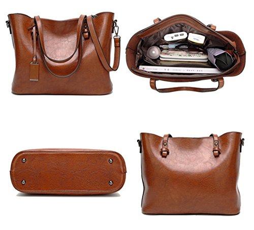 ECOTISH Damero delle donne Vintage spalla del sacchetto con fodera rimovibile Tote Grande Capacità Multifunzione del Sacchetto Rosso