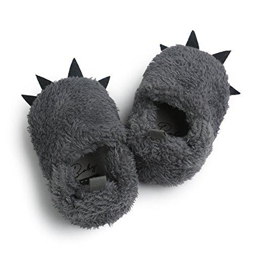 DREAMOWL Garçon Loup Patte Chaussons en Fausse Fourrure BearFuzzy Claw Chaussons pour bébés Enfants en Bas âge Douche Cadeau 12-18 Mois Gris