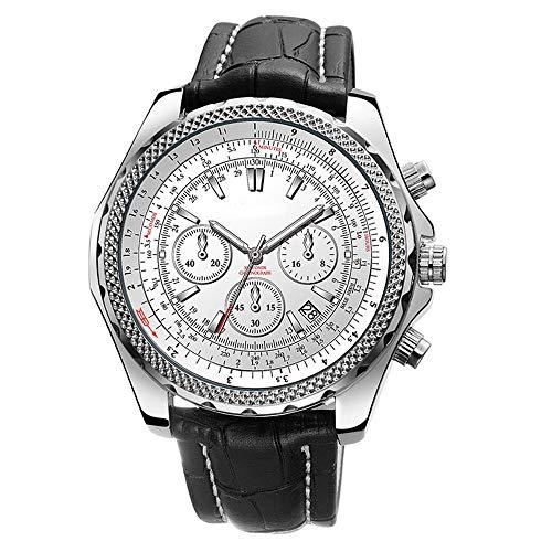 YGMDSL Armbanduhren Männer Quarzwerk Kreativ Persönlichkeit Freizeit Spiegel aus Gehärtetem Mineralglas,White