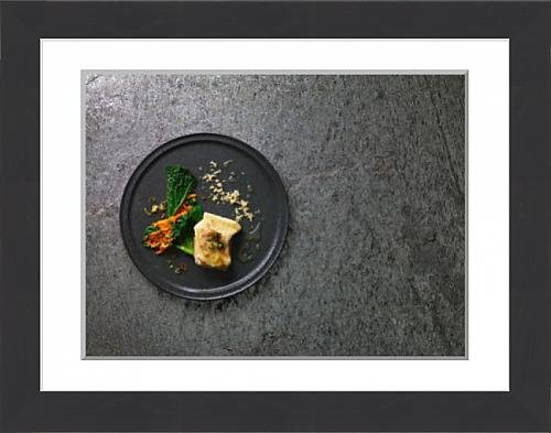 framed-print-of-steamed-sturgeon-fillet-with-an-elderflower-emulsion-and-savoy-cabbage