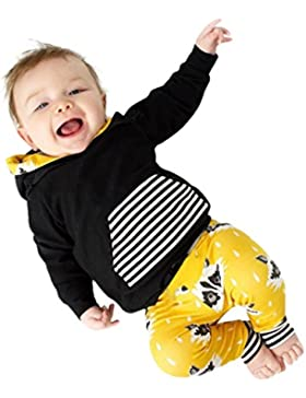 Amlaiworld Baby bunt Tier langarm Kapuzenpullis Jungen Mädchen warm Winter gestreift hose sweatshirt Bekleidungssets...