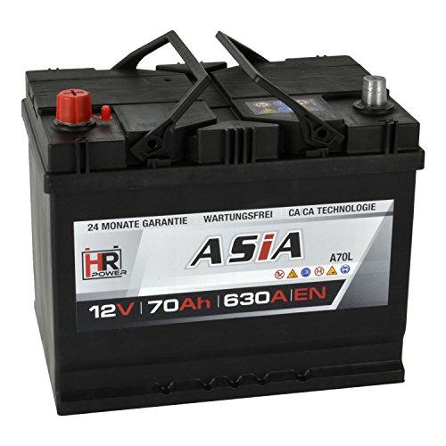 HR HiPower ASIA Autobatterie 12V 70Ah Japan Pluspol Links Starterbatterie ersetzt 50Ah 65Ah 70Ah 80Ah