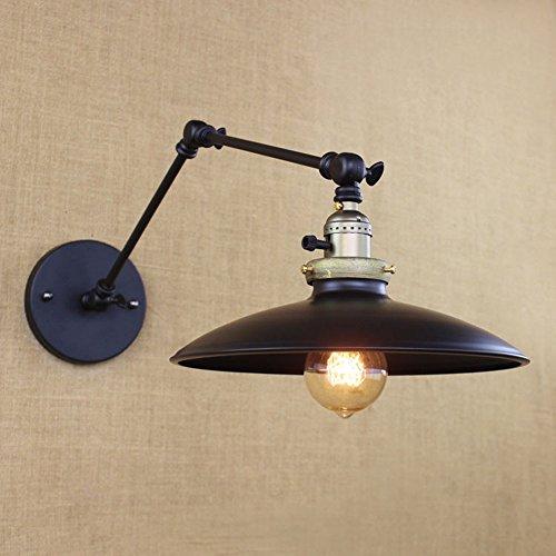 Vintage Retro Landschaft schwarz Wandleuchte lange Arm Pole Swing Arm Wandhalterung Licht Wandlampen (Glühbirnen nicht im Lieferumfang enthalten) (schwarz)