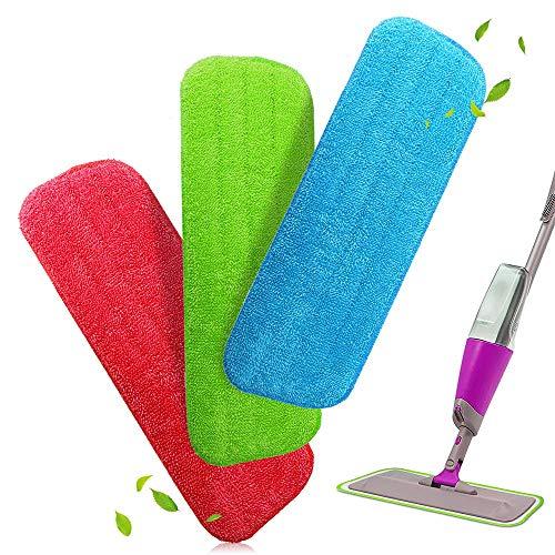 Alcoon Mop Microfaser Reinigung Pads für Spray Mops und Reveal Mops Waschbar 42 x 14 cm, 3 Stück -