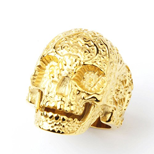 Bishilin Edelstahl Herren Ringe Edelstahlring Totenkopf Schädel Männer Ring Partnerring Gold Größe 62 (19.7)