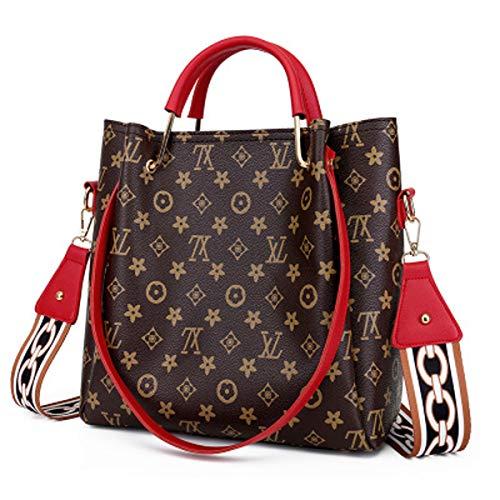 Ein Satz zwei Koffer Tasche weiblich 2019 alte Blume Umhängetasche Mode Kind Tasche Wild Print Retro Handtasche (Red, 28 × 9 × 30 cm) - Kind Handtasche