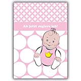 20 Geburtsanzeigen gestalten aussen süßes Baby Mädchen, innen ihr Text. Motiv