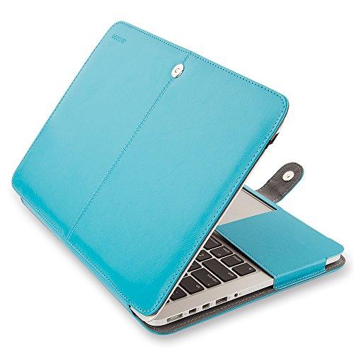 MOSISO Housse en Cuir PU Macbook Retina 13, Premium Qualité PU Couverture de Livre en Cuir Folio Affaire avec Fonction de Pied pour MacBook Pro 13 Pouces avec Affichage de La Rétine (A1502 / A1425, Version 2015/2014/2013/Fin 2012), Bleu, Coques iphone