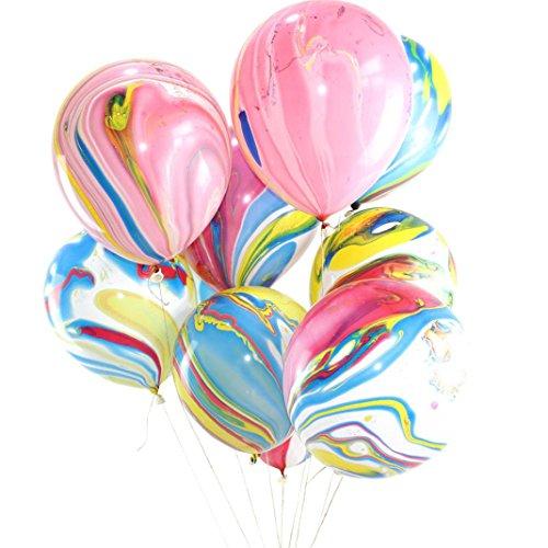 Trada Achat-Ballon-Set-Geburtstags-Party-Dekorationen, Hot 10 Teile/Los Marmor Achat Latex 12 Zoll Ballon Party Geburtstag Decror Baby Show Geburtstag Dekoration Kit für Mädchen (Mehrfarbig)