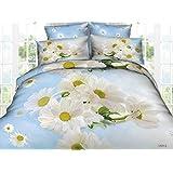155x200 3D Bettwäsche 3tlg Bettwäscheset Blume Blumen-Muster Bettbezüge Microfaser Bettwäschegarnituren FSH 462
