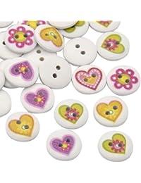 Pandahall-Precio por 50 piezas Ronda plana Botones de madera impresas de el corazon y la flor tenido con 2 ojales,blanco,15x3mm, agujero: 2 mm