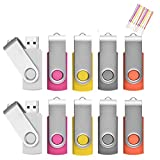 16 Go Lot de 10 Pivotant Clés USB 2.0 Stockage Carte Mémoire Flash Drive Rotation Stylo Lecteur avec Cordes Couleurs Mixtes(16GB*10PCS)