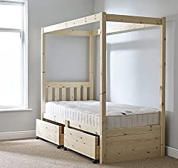 Strictly Beds Quattro Four Poster Bed Storage Bed Single 3ft Four Poster STORAGE Bed frame - with two under drawers