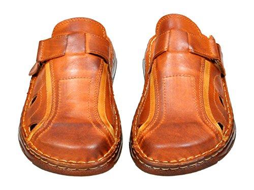 Confortable Forme Orthopedique Sandales Pour Homme En Veritable Cuir De Buffle Chaussures Modele 809 Cognac