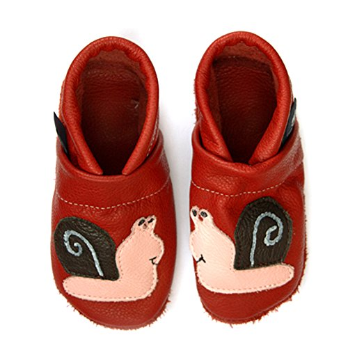pantau.eu Kinder Lederpuschen Krabbelschuhe Lauflernschuhe Babyschuhe mit Schnecke ROT_ROSA_DUNBRAUN