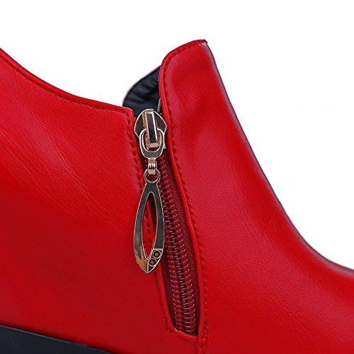 AllhqFashion Femme Matière Souple Rond Zip Couleur Unie Chaussures Légeres Rouge