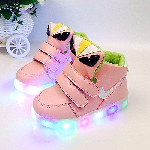 Fortuning's JDS Enfants Unisexe Velcro LED éclairé Clignotant Sneakers Bottes de neige Rose
