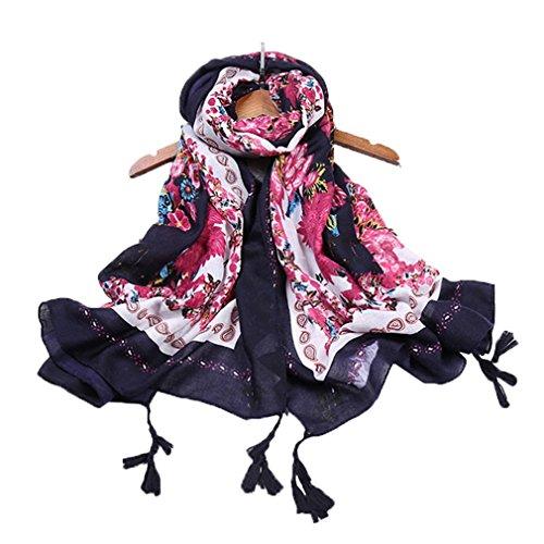 Smile YKK Châle Femme Hiver Echarple Imprimée Foulard 90*180 Anniversaire Soirée Plage Mode Noir