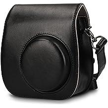 Bolso para Fujifilm Instax Mini 8 / Mini 9 cámara instantánea funda de cámara - kwmobile bolsa de cuero sintético para cámara instantánea - bolso con correa de hombro en negro