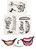 Anddas Freak Joker Temporary Tattoos Lot Suicide Squad Party Harley Quinn Costume Cosplay