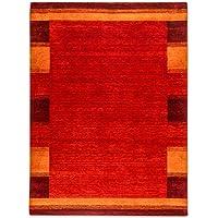 Morgenland Gabbeh Teppich 150 x 200 cm Handgearbeitet Einfarbig mit Bordüre Rost Orange, Schurwolle