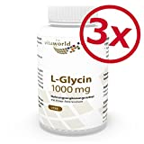 Pack di 3 Vita World L-Glicina 1000mg 3 x 120 Capsule Made in Germany Glicina