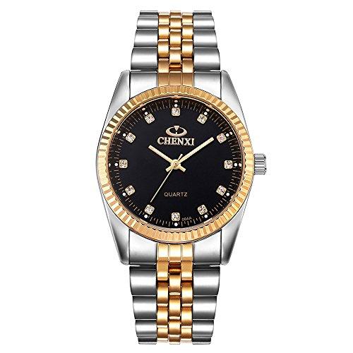 JYJM❤ Gold Herrenuhr Mode Gold Uhr Voll Edelstahl Quarz Uhren Handgelenk Wat Modische hohe Härte Glasspiegel Männer Frauen allgemeine Mesh Gürtel Uhr Herren-Armbanduhr