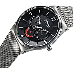 Bering Time Ceramic - Quartz Watch For Men With Stainless Steel Strap, Black
