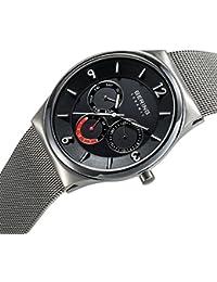 Bering Time  Ceramic - Reloj de cuarzo para hombre, con correa de acero inoxidable, color negro
