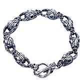 Jade Ange Argent sterling 925Mouton Tête de mort rétro Bracelet pour homme