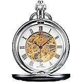 KS Reloj de Bolsillo Unisex Mecánico de Cuerda Manual, Caja Plateada KSP007