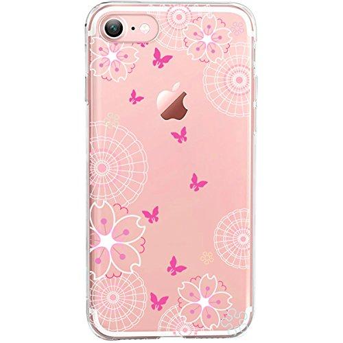 GIRLSCASES® | iPhone 8 / 7 Hülle | Im Macaron Girly Look aus Silikon | Fashion Case transparente Schutzhülle Schmetterlinge 1