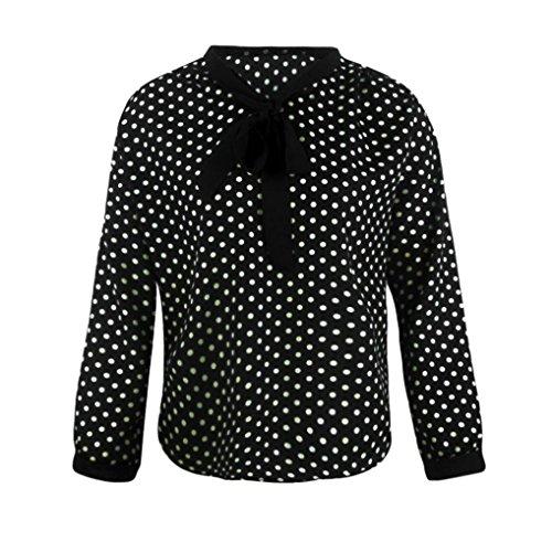 Esailq Femme Manches Longues V-Neck Mousseline de Soie Bowknot Dots Blouse Tops A-Noir
