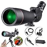 Telescopio Terrestre 20-60X80 AE Spotting Scope, Con Zoom Resistente al Agua, Lentes ópticas Recubiertas FMC, Teléfono Móvil, Trípode y Disparador Remoto para el Tiro al Blanco Observación de Aves de Caza Paisaje