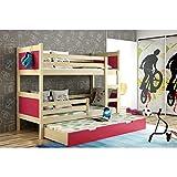 JUSThome LEON Cama juvenil infantil Litera con cajones con cama adicional (LxBxH): 190x85x150 cm Pino Rosa