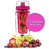 ACQUABLEND & # 174; Premium 900ml JUMBO frutta infusore Borraccia include nuovi push-pull coperchio. Crea il tuo frutta Infusione Acqua, succhi, tè freddo e bevande frizzanti, Pink