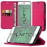 HTC u 11funda tipo cartera Carcasa con Tarjeta Soporte y LCD Protector de pantalla rosa PU Leather Wallet Case (Hot Pink)