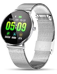 OUTERDO Smartwatch,Fitness Armband Wasserdicht IP68,Fitness Tracker Aktivitätstracker Pulsuhren mit Kalorienzähler Schlafmonitor für Damen Herren für IOS Android Silber