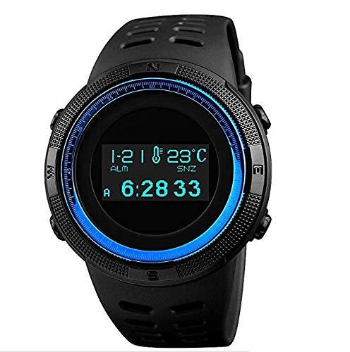 Reloj Digital Deportivo para Hombre con Pantalla OLED, Militar, de Supervivencia, Resistente al Agua, Reloj de Pulsera con Zona horaria Dual, brújula, podómetro, termómetro, cronómetro