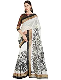 Florence White & Black Bhagalpuri Silk Printed Saree With Blouse