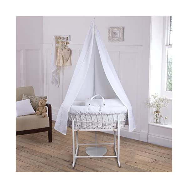 6-Piece Waffle Moses Basket Starter Set (White)  Made from 100% super soft Waffle cotton fabric Lightweight cotton drape edged with soft Waffle cotton to match the dressing, with freestanding rod to place next to the Moses basket Comes complete with matching stand, padded liner, delicately embroidered 2.0 tog, reversible coverlet and mattress. 2
