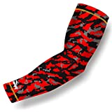 COOLOMG (1 Piece) Compression Arm Sleeve Jeunes Adultes Anti-dérapant Protection UV Baseball Red Medium