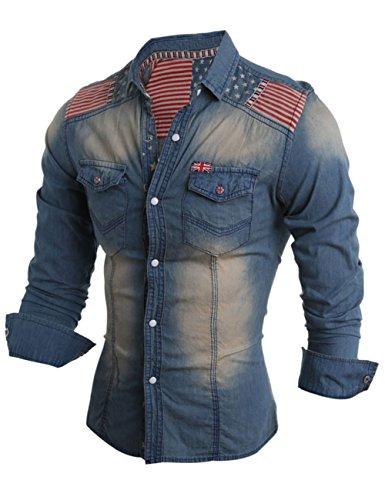 YesFashion Men's Jean Shirt The Union Flag Pattern Denim Coat Light Blue M (Work Shirt Sleeve Jeans-short)