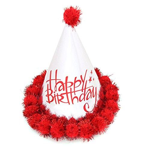 Dosige 1 Stück Partyhüte Geburtstag Hut Kinder Erwachsene Partei Hüte für Kinder's Geburtstag Party Deko Kegel Hüte Rot