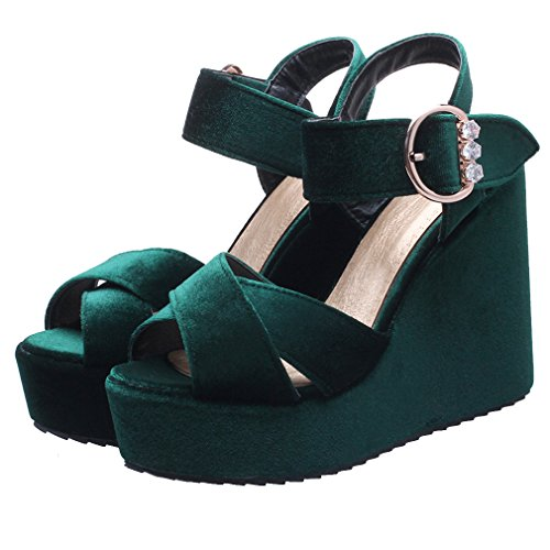 YE Damen Wildleder Peep Toe Riemchen High Heel Plateau Sandalen mit Keilabsatz und Strass Pumps Schuhe Grün