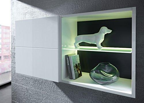 7-tlg Wohnwand in Hochglanz weiß/grau mit Akustik-Fächern und LED-Beleuchtung, Gesamtmaß B/H/T ca. 324/170/51 cm - 3