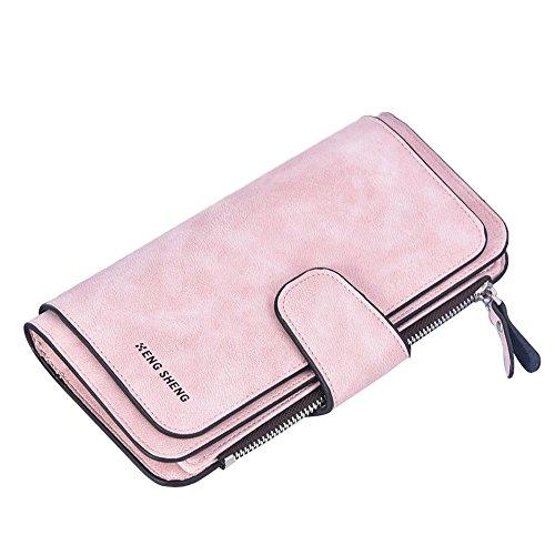 Damen Geldbörse Piebo Brieftasche Portemonnaie Lang Portmonee Elegant Clutch Große Kapazität Handtasche Geldbeutel PU Leder Geldtasche mit Reißverschluss für Frauen (Rosa)