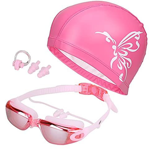 Magic Zone 5 in 1 Swimming Goggles + Swim Cap + Nose Clip + Ear Plugs + Case, Waterproof, No Leaking, Anti-Fog, UV Protection, Free Protection Case, Comfortable Fit for Adult Men Women Youth Kids Child