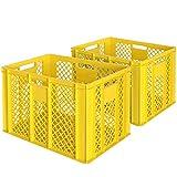 2x Eurobehälter/Bäckerkiste, LxBxH 600 x 400 x 410 mm, lebensmittelecht, Boden und Wände durchbrochen, gelb